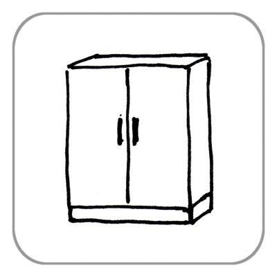 Schrank, bis 2 Türen, nicht zerlegbar